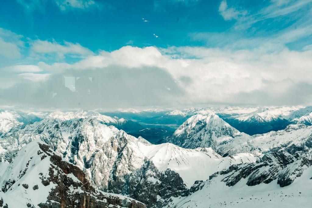 Blick über die Alpen aus Sicht der Zugspitze